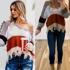 Sweaters - Distressed V-Neck Color Block Sweater